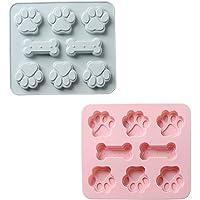 Lot de 2 moules de cuisson en silicone - 8 cavités en forme de patte de chien et d'os 2 en 1 - Réutilisables - Pour…