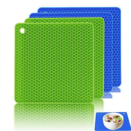 Silikon Topf-Untersetzer (4er-Paket), Ankway Küche Topflappen Set Multifunktional & Langlebig Topfuntersetzer, Lsolierung Rutschfest, FDA Zugelassen, Hitzebeständig bis 450°F (2 X Grün & 2 X Blau)