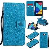 """Guran® PU Housse En Cuir pour Samsung Galaxy A5 (2016) A510 5.2"""" Smartphone Flip Cover Fonction Stand avec Fente Étui-bleu"""