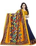 Jaanvi Fashion Women's Art Silk Kalamkari Printed Saree (Blue_Warli)
