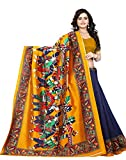 #9: Jaanvi Fashion Women's Art Silk Kalamkari Printed Saree (Blue_Warli)