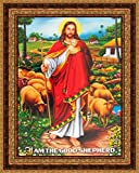 Avercart Jesus Christ / I am the Good Shepherd / Christian Poster 13x18 cm with Photo Frame (5x7 inch framed)