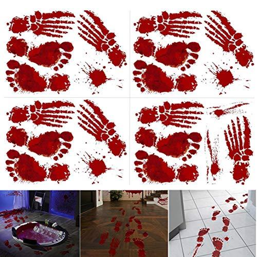 TIREOW_Halloween 1 Realistisch Wirkende Schaurig Blutige Sticker/Aufkleber Dekoration, Rot, Größe: 23x35cmx4pcs - 4