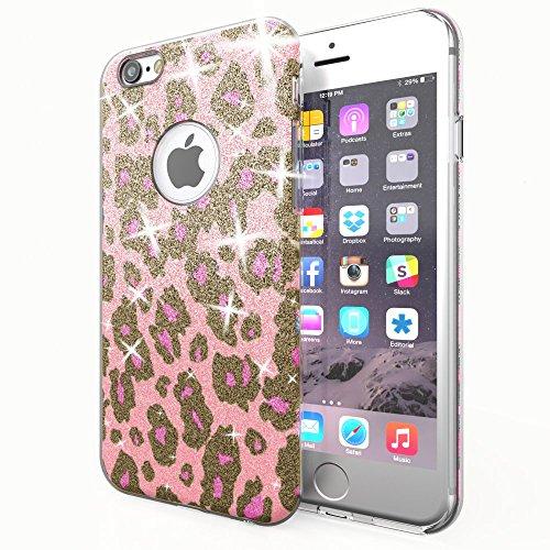 NALIA Handyhülle kompatibel mit iPhone 6 6S, Glitzer Leopard Ultra-Slim Silikon-Case Back-Cover Schutz-Hülle, Glitter Leo Sparkle Handy-Tasche, Dünnes Bling Strass Thin Smart-Phone Etui - Pink Lila Leopard Hard Case Cover