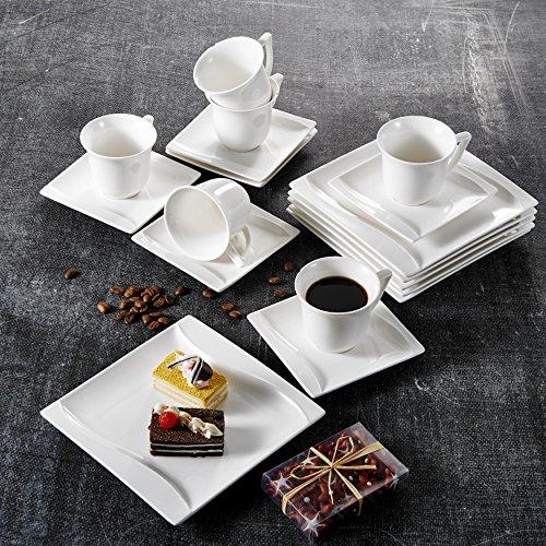 Malacasa, Serie Carina, 36 tlg. Set Cremeweiß Porzellan Kaffeeservice Geschirrset Tafelservice mit...