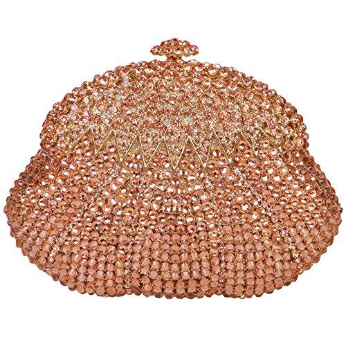 Damen Clutch Abendtasche Handtasche Geldbörse Glitzertasche Strass Kristall Kalebasse Tasche mit wechselbare Trageketten von Santimon(3 Kolorit) Orange
