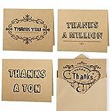 Kuuqa Dankes Karte Danksagungskarten 4 Ausführungen 20 Stück mit 20 Umschläge und Kleber Aufkleber