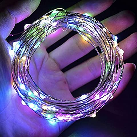 Ambielly 5M Weihnachten LED-String-Licht, Feiertags Dekorative 50 LEDs Licht Weihnachten Kupfer-Leuchten String-Batterie betrieben für Weihnachten Hochzeit Halloween-Fee-Schnur-Lichter (Multi-Color)