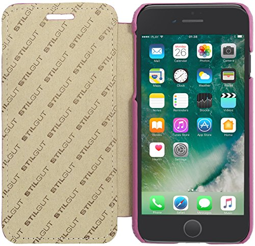 StilGut Book Type Case, custodia in pelle cover per iPhone 7 Plus (5,5). Chiusura a libro Flip-Case in vera pelle, Rosa Rosa