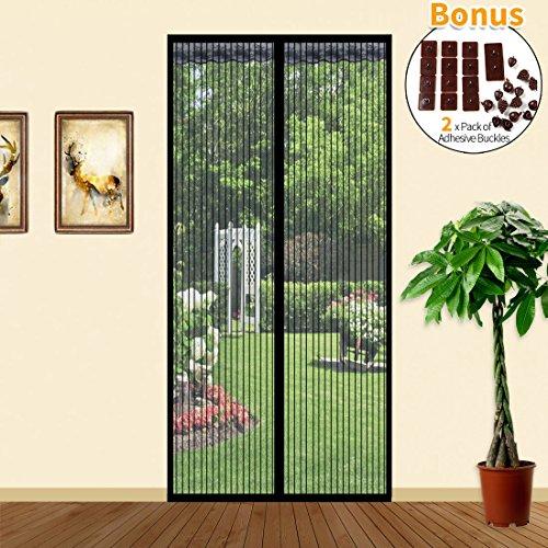 Joyoldelf Fliegengitter Insektenschutz Magnetvorhang für Türen 90cm x 210cm Magnet Vorhang Fliegenvorhang für Balkontür Wohnzimmer, Schwarz
