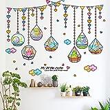 HCCY El salón paredes decoradas con guarderías infantiles carnosa pared decorativo jarrón de cristal 90*71cm.