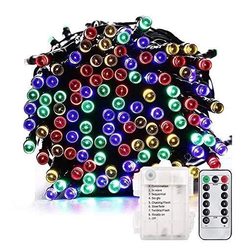76c789209b5 200 LED 72 ft resistente al agua mando a distancia cadena de batería jardín  luces multicolor