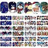 Blue Vesse 12 Designs Neu nagelaufkleber selbstklebend Weihnachten Nail Art Sticker Wassertransfer Decals Schneeflocken Cartoon Maniküre Dekor