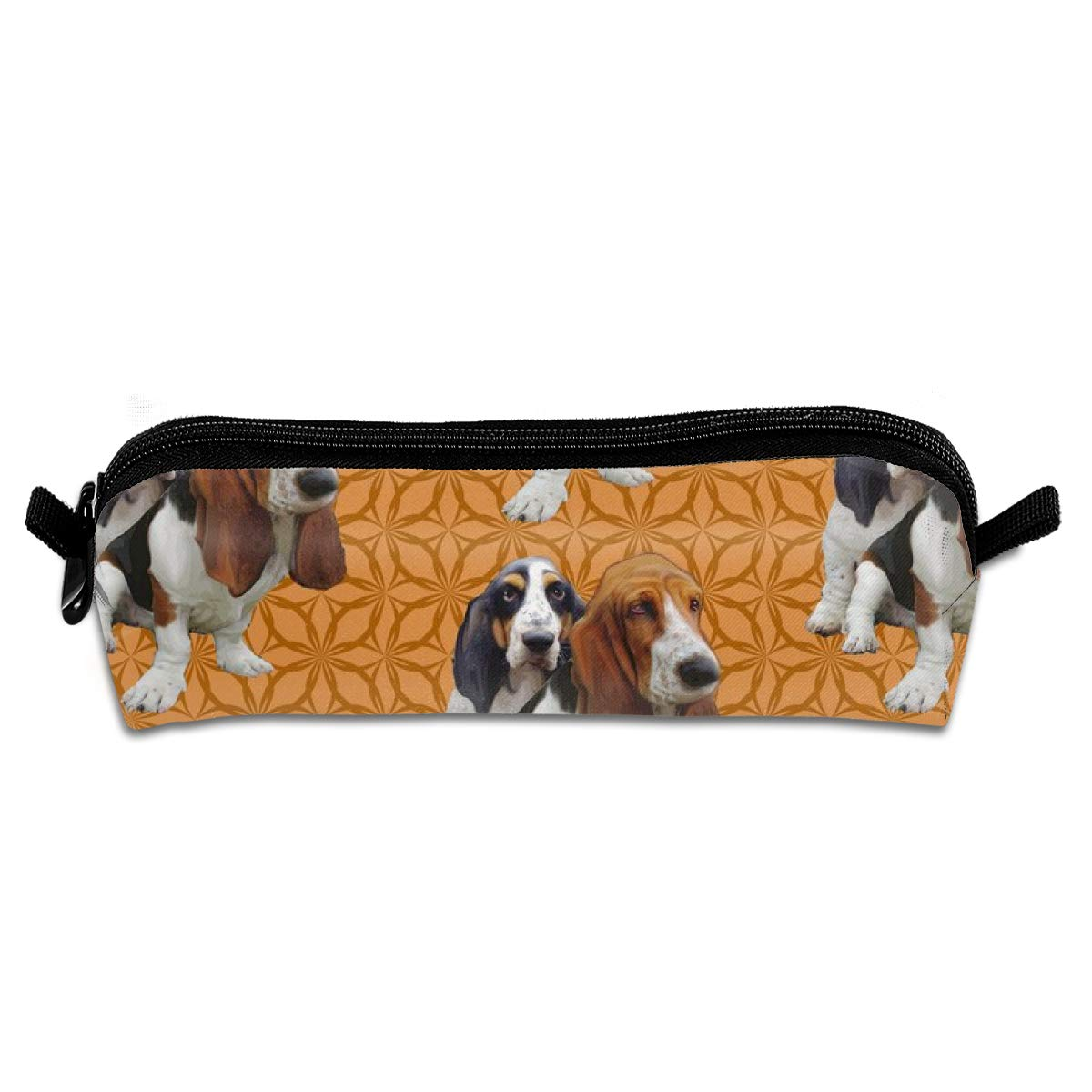 Basset Hounds Two Student Polyester Double Zipper Pen Box Boys Girls Pencil Case Cosmetic Makeup Bag Pouch Stationery Office School Supplies 21 X 5.5 X 5 cm