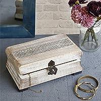 Store Indya, Attraente gioielli Trinket dell'organizzatore ricordo scatola multiuso bagagli a mano intagliato con Metal fermo