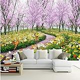 YShasaG Seidenwandbild Fototapete Romantische Kirschbaum Das Wohnzimmer Schlafsofa Bed Schlafzimmer Natural Floral Hintergrund Wallpaper Mural,396cm*280cm