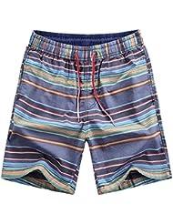 Men's Quick de séchage Swim Trunks été plage élastique taille Casual Swim Sports Wear, la mode de fil gefärbt gestreifte Short Casual Pantalons