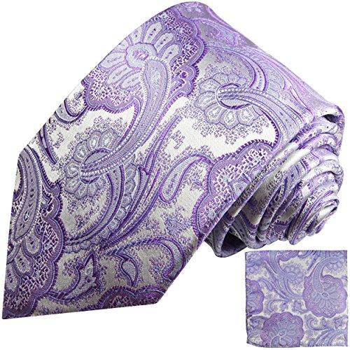 Cravate homme violet argenté paisley ensemble de cravate 2 Pièces ( 100% Soie Cravate + Mouchoir )