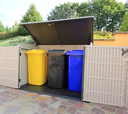 Lifetime XXL Kunststoff Mülltonnenbox, Gerätebox, Aufbewahrungsbox // BxTxH 190x108x132cm // Gartengerätebox für Mülltonnen - 4