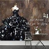 CICDGD Tapeten Wallpaper Personalisierte Mode Hochzeit Kostüme Abstrakte Kunst Ölgemälde 3D Benutzerdefinierte Wandbilder für Hochzeit Shop Hintergrundwand, A