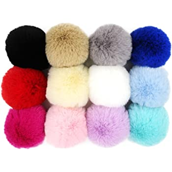 73e073904 DIY Pack of 12 Fluffy Faux Raccoon Fur Pom Poms for Hats Puff Ball ...