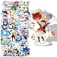 Genshin Impact Stickers 50Pcs+Genshin Impact Figure Acrylic Material Humanoid Stand 6 inches 1Pcs(Klee)