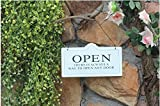 Doppelseitiges Schild zum Aufhängen Open/Closed, Ladenschild, Türschild, Wandschild, für Haus, Bar, Café, Restaurant, Hotel, Tür, Garten weiß