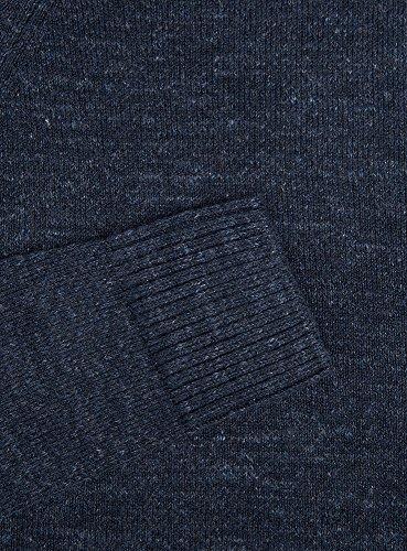 oodji Ultra Herren Gerader Pullover mit Melange-Effekt Blau (7900M)