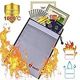 Bolsa de Seguridad Inofuga Bolsa Antifuego Bolsa Impermeable para Documentos Pasaportes Casa/Despacho/Coche(28x38 cm)