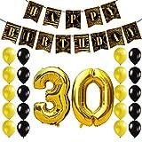 KUNGYO 30 Anni Decorazioni Compleanno per Feste - Buon Compleanno Ruggenti Anni '20 Articoli Oro Nero Striscione Happy Birthday Banner, Palloncini di Lattice, Numero 30 Alluminio Mylar Palloncini Nastri, il Grande Tema di Gatsby