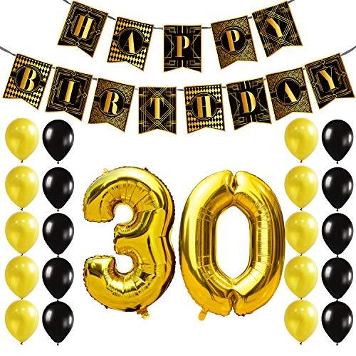 g Deko Set - Schwarz Gold Geburtstag Party Dekorationen Zubehör zum Frauen Männer, Happy Birthday Girlande Banner, Zahl 30 Helium Folienballon, Latex Luftballons, Bänder, 1920er Jahre Jahrgang Der große Gatsby Geburtstag Party ()