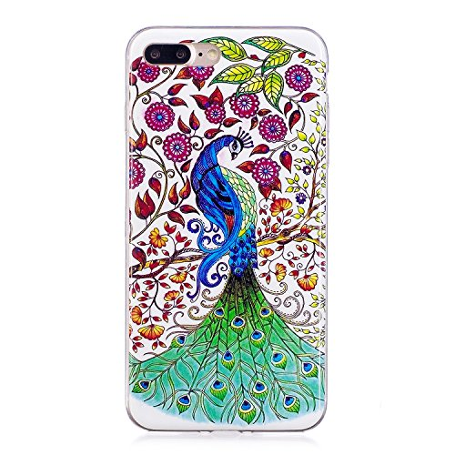 Cover iphone 8 plus Custodia iphone 7 plus Silicone Anfire Morbido Flessibile Gel TPU Case per apple iphone 8 plus/7 plus (4.7 pollici) Ultra Sottile Fluorescente Shell Antiurto Luminosa al Buio Coper Pavone