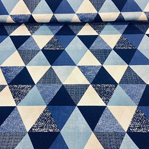 Erstklassiger Baumwollstoff 0,5lfm, 100% Baumwolle, modische Muster, Breite 160cm – geometrische Muster, Blau Dreiecke (Stoff Geometrisches Muster)