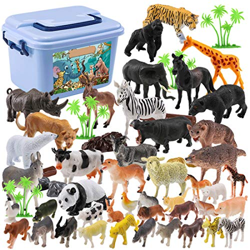 MAJOZ 44 St. Mini Spielzeug Tierfiguren Set - Plastik Wild Zoo -Tiere im Dschungel kleine Safari Kinderspielzeug Spiel-Figuren - ideale Spielzeug Dekoration für Kinder Geburtstag Party Geschenkset (Tier Spiele Zoo)