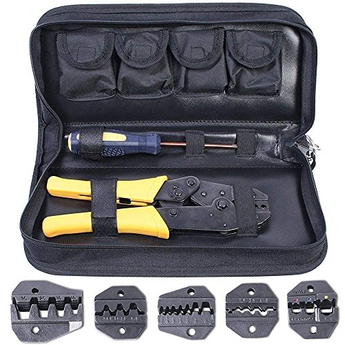 Pince à Sertir 5 en 1 Kit, Amzdeal Pince Sertissage 0,5-35 mm² Réglable - avec 5× Mâchoires Interchangeable, 1× Tournevis et 1× Étui de Rangement - Jaune, Wire Crimpers pour Câble Cosse Borne Terminal