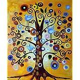 Árbol de la Vida - Pintura al óleo pintada a mano sobre lienzo - Excelente calidad y la artesaníaTranscription de trabajo inspirador de Klimt.