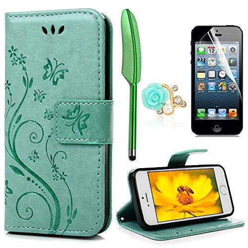 iPhone 5 5S SE Wallet Case iPhone 5 5S SE Flip Hülle YOKIRIN Schmetterling Blumen Muster Handyhülle Schutzhülle PU Leder Case Skin Brieftasche Ledertasche Tasche im Bookstyle in Mintgrün