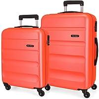 Roll Road Flex Set de Bagages Orange 55/65 cms Rigide ABS Serrure à combinaison 91L 4 roues Bagage à main