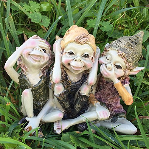 Pixie Hear, See, Speak No Evil - Green Garden Home Decor - Fun Quirky Gift Figurine - Anthony Fisher by Fiesta Studios -