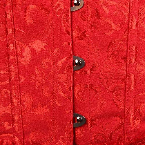 Moon Angle Frauen schnüren sich oben Boned Plus Size Overbust Korsett Bustier Bodyshaper Top Rot