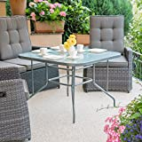 Relaxdays STRUK Glass Patio Table, Decorative Glass Table Top, Large Garden Dining Table, Porch, Square, 70 x 100 cm, Grey