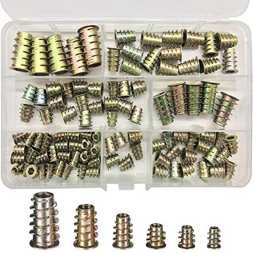 Gewindeeinsatz Holz, ESDInCtl 100 Pcs M4/M5/M6/M8/M10 Zinc Alloy Insert Nut Threaded Furniture Socket Head Cap Screw Sockets Thread Insert Tool Kit for Wooden Furniture