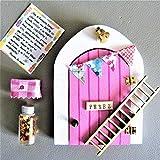 Puerta ratoncito Pérez QUE SE ABRE de MADERA con ACCESORIOS * ROSA * Artesanía en madera