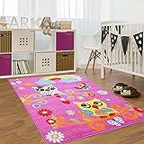 carpet city Kinder Teppich für Das Kinderzimmer Öko Tex 100 2773 Freundliche Eulen auf Dem AST mit Regenbogen Rosa Pink 190x280 cm