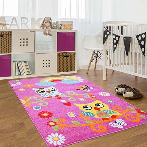 Alfombra infantil, Öko Tex, búho, multicolor, crema, verde, turquesa, rosa y naranja, diferentes tamaños, morado, 80 cm_x_150 cm