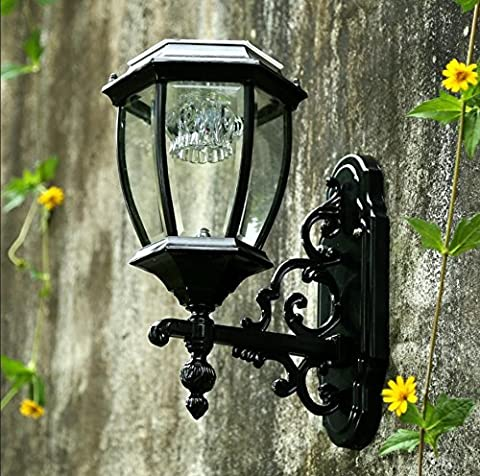 SHIEND Solar Wandleuchte, Innenhof Im Freien Lampe, Led-Licht Gesteuerten Induktion Lampe, Außen-Wandleuchte, Wasserdichte Superhelle Solar Lampe, Solar 8 Zoll Schwarz/Warmes Licht