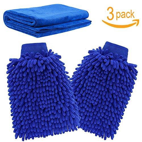 Autowaschhandschuh ,Mikrofaser Autowaschhandschuh(2 Stück) und Mikrofaser Reinigungstuch | Reinigungshandschuhe zur Autowäsche | Chenile Waschhandschuhe mit Poliertuch Trockentuch