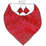 Modeschmuck Mädchen großes Legierung rot Mesh Übertrieben Erklärung Frauen Halskette und Ohrringe Set