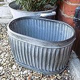 Piccolo stile vintage galvanizzato ovale Dolly Planter