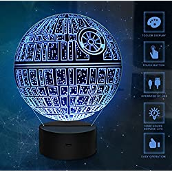 3D Illusion Light, 7Models Touch Control Optical Illusion LED Night Light con cable de carga para el hogar, niños, Star Wars Fans (Death Star)